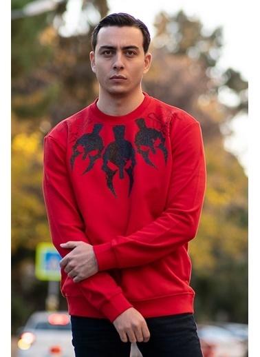 Bernotti 79 Kırmızı Baskı Detaylı Sıfır Yaka Erkek Sweatshirt Kırmızı
